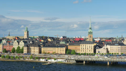 Stockholm view, sweden, timelapse, zoom out, 4k Footage