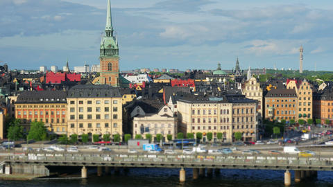 Stockholm view, sweden, timelapse, zoom out, 4k Footage