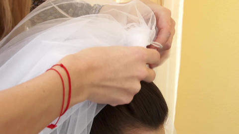 Mother Helping Bride To Put His Head Bridal Veil 17 stock footage