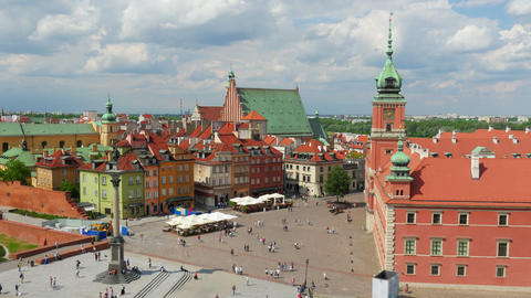 Warsaw Old Town Square, Poland, Timelapse, 4k stock footage