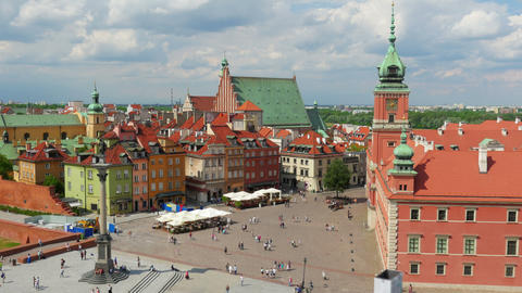 Warsaw Old Town Square, Poland, Timelapse, Zoom In, 4k stock footage