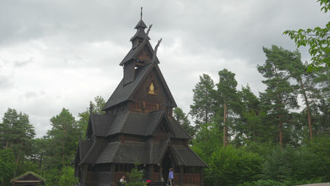 OSLO - NORWAY, AUGUST 2015: stave church, timelapse, zoom in Footage