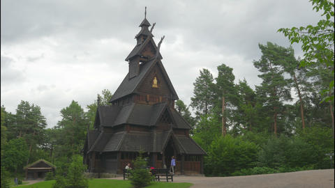 OSLO - NORWAY, AUGUST 2015: stave church, timelapse Footage