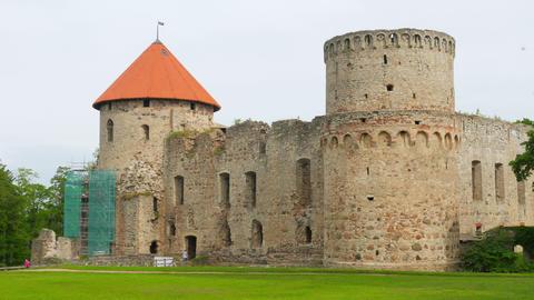 Cesis castle, northern latvia, timelapse, zoom in, 4k Footage