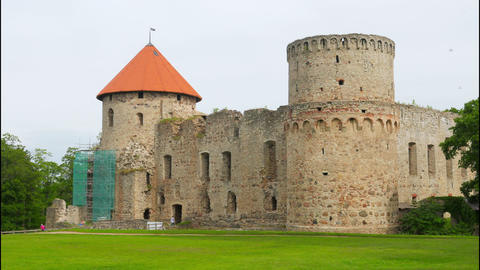 Cesis castle, northern latvia, timelapse, 4k Footage
