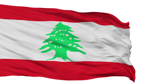 Isolated Waving National Flag of Lebanon Animation