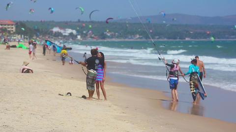Kitesurfing training on the beach of Mui Ne Footage