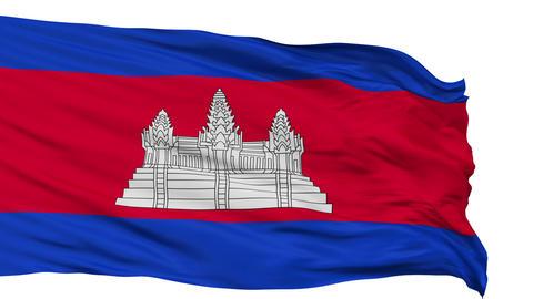 Isolated Waving National Flag of Cambodia Animation