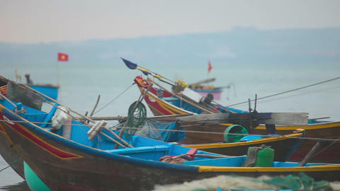 Fishing boats in the bay near the village of Mui Ne Footage