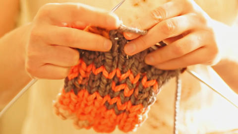 Woman knitting Footage
