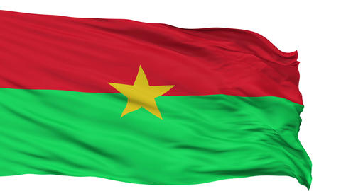 Isolated Waving National Flag of Burkina Faso Animation