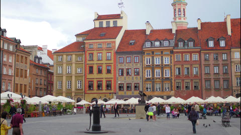 WARSAW - POLAND, AUGUST 2015: old town square view, timelapse Footage