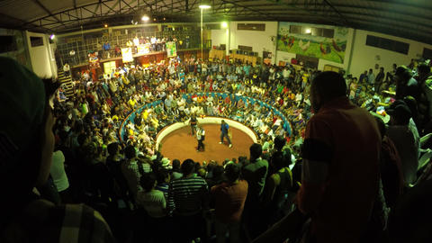 cockfight arena filled with people wide angle Footage