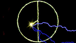 Electric arc draws golden PEACE SIGN on black background Animation