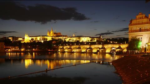 charles bridge and castle view, prague, czech republic, timelapse, 4k Footage