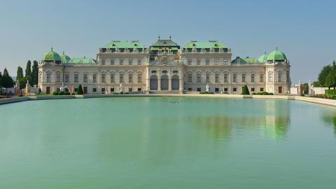 belvedere palace, vienna, austria, timelapse, zoom in, 4k Footage