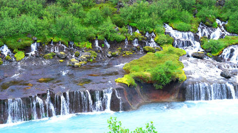 Hraunfossar waterfalls in western Iceland Footage