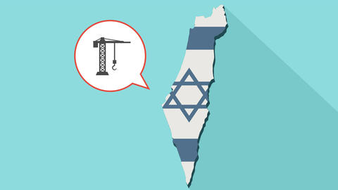 [alt video] Animation of a long shadow Israel map with its flag and a…