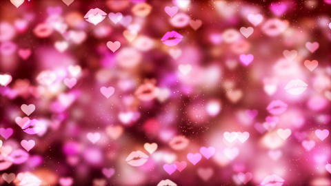 HD Loopable Background with nice flying hearts and kisses Animation