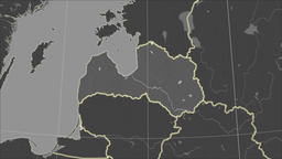 Latvia and neighborhood. Grayscale contrasted Animation