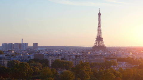 Aerial view on Eiffel Tower in Paris on the sunset in 4k Footage