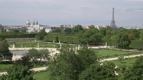 Aerial view on The Tuileries Gardens and Eiffel Tower in Paris in 4k slow motion Footage