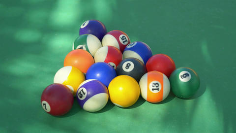 Video of hitting billiards balls on the table in 4k slow motion Footage