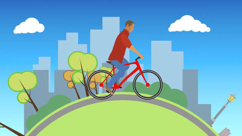Vector Man Riding Outdoors Animation