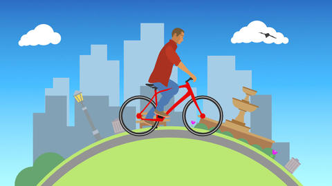 Vector Man Riding Outdoors Stock Video Footage