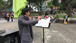 Taiwanese busker play the flute at 228 Peace Memorial Park Taipei Taiwan Footage