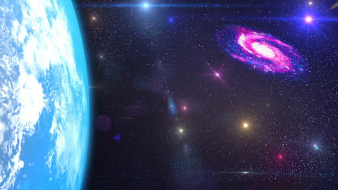 HD Loopable Background with nice spiral galaxy and earth CG動画素材