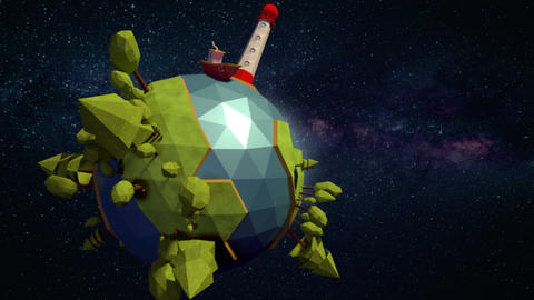 Low poly planet background CG動画素材