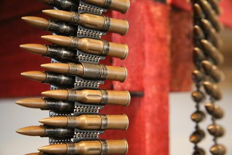 Cartridges in machine-gun belt Foto