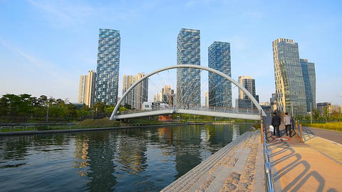 Incheon,Central Park in Songdo International Business District , South Korea Footage