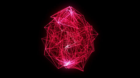 wireframe loop, red CG動画素材