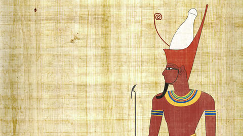 Egyptian Pharaoh with Double Crown on a Papyrus Background Live Action