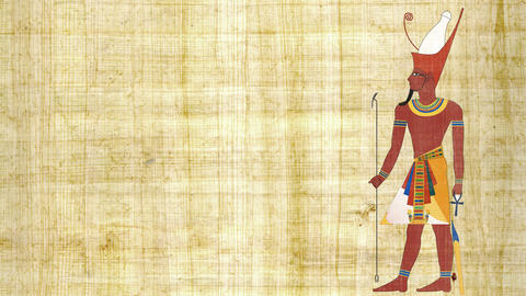 An Egyptian Pharaoh with Double Crown on a Papyrus Background Live Action