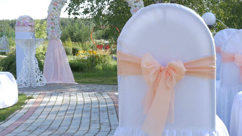Decorated rows of chairs at the wedding ceremony Footage
