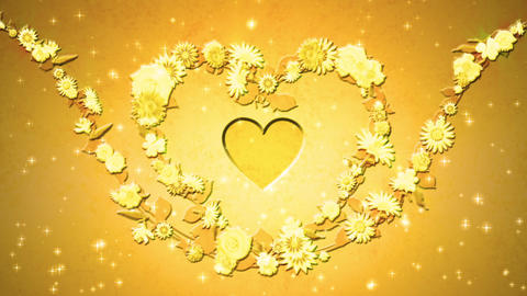 Flower wreath, heart shaped, gold CG動画