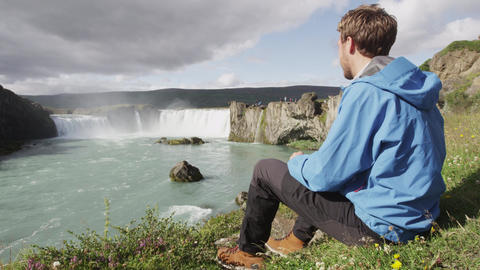 Iceland Landscape With Godafoss Waterfall Famous Tourist Destination Footage