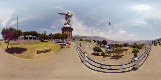 360Vr Panecillo Monument In Quito At Day Footage