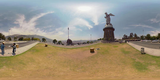 360Vr Panecillo Statue At Day In Capital Quito Ecuador Footage