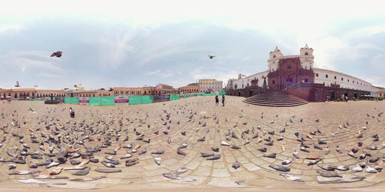 360Vr Pigeons Flying Across Plaza San Francisco In Quito Ecuador Daytime Footage