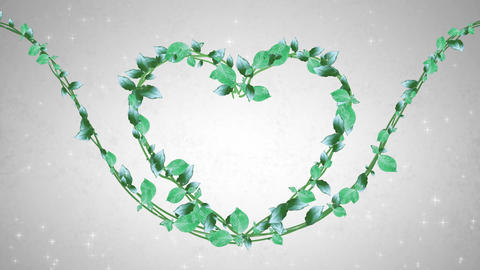 wreath of leaf, heart shaped, white background CG動画