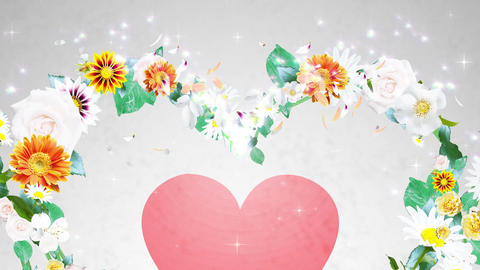 Flower wreath, heart shaped, white background 2 Animation