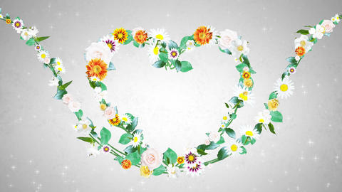 Flower wreath, heart shaped, white background 1 CG動画