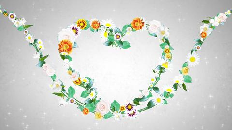 Flower wreath, heart shaped, white background 1 Animation