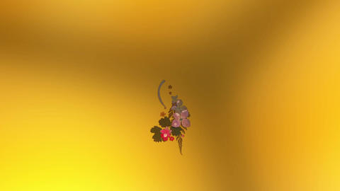 blooming flower bouquets, japanese style, golden background, Stock Animation