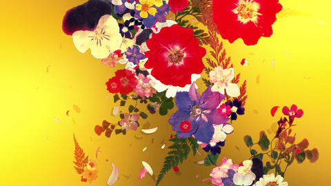 blooming flower bouquets, japanese style, golden background Animation