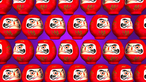 Spinning Red Daruma Dolls On Purple Background CG動画